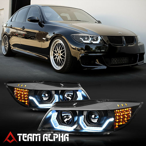 BMW E90 F30 Style 3D HALO/LED SIGNAL Black Projector Headlight