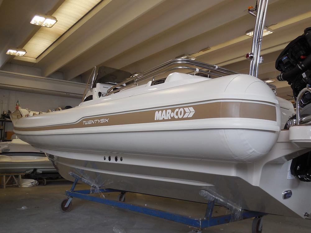 MAR.CO twentysix 8.43 meters rigid inflatable boat gelcoat fiberglass