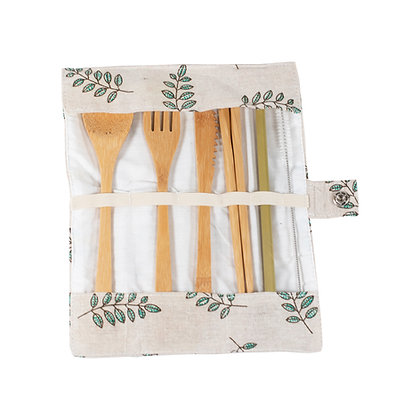 EcoLogical Bamboo Cutlery Set with Pouch