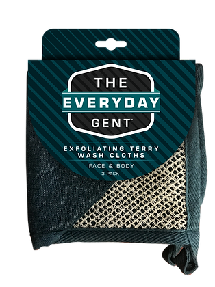 The Everyday Gent Exfoliating Terry Wash Cloths 3 pk