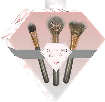Diamond Blends Grey Makeup Brushes 3pc