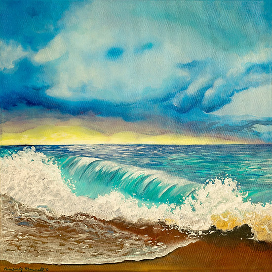 Teal Wave with a Yellow Sunset - Oil Painting