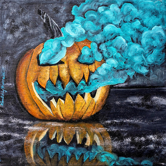 Spooky Smoky Pumpkin - Oil Painting