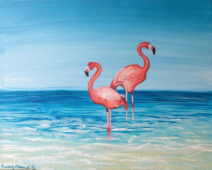 Flamingos in the Ocean - Digital Download
