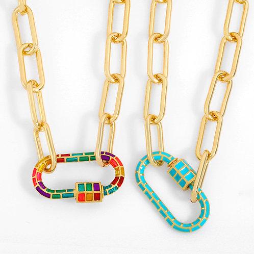 Collier maillon de chaîne coloré
