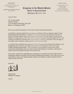 Congressman Adam Smith Recognition