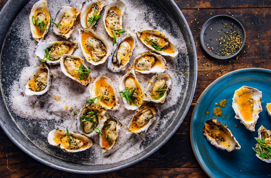 """Smoked Oysters with Spicy Miso Butter - Kingsford Charcoal """"Taste Of The Game"""" cookbook"""