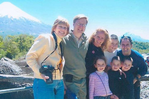 Stevie Jay & Janet, their kids with Pat & Bill Owen before Mt Osorno in Chile