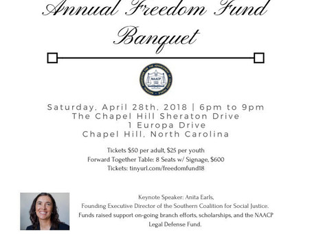 CHAPEL HILL-CARRBORO NAACP BRANCH CLOSES IN ON 2018 ANNUAL BANQUET; THEME IS CHANGING THE GAME; ANIT
