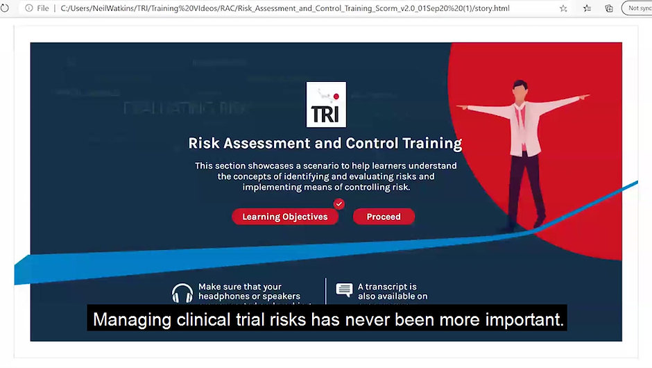 Short video clip of the Risk Assessment and Control training e-learning module