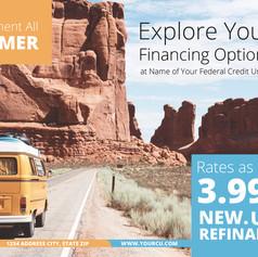 Postcard design for credit union fall auto rates 3.99%