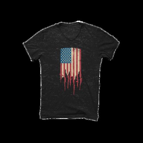 Distrress American Flag Made of Guns and Rifles