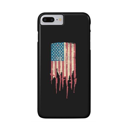 Distrress American Flag USA phone case Made of Guns and Rifles