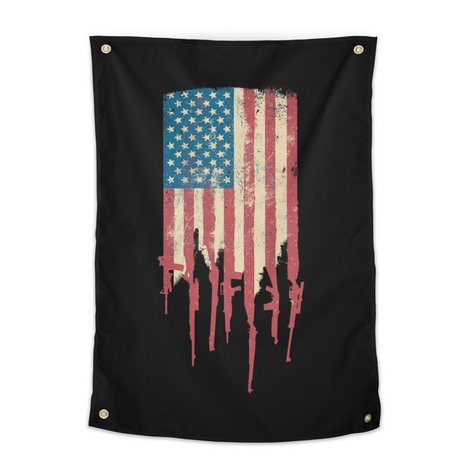 Grunge Distress USA American Flag made of guns rifles tapestry