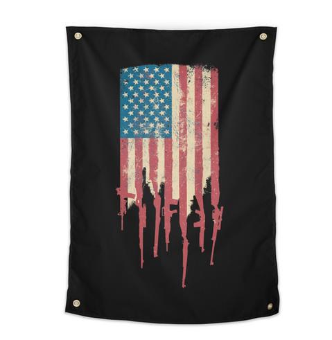 Grunge Distress USA American Flag made of guns rifles tapestry