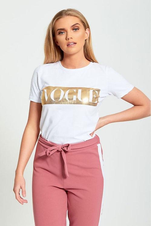 Vit Glitter Vogue Tjej/Dam T-Shirt