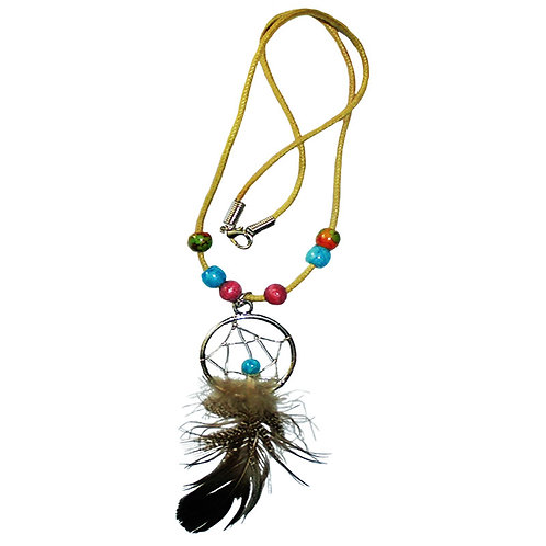 Necklace With A Feather And A Dream Catcher