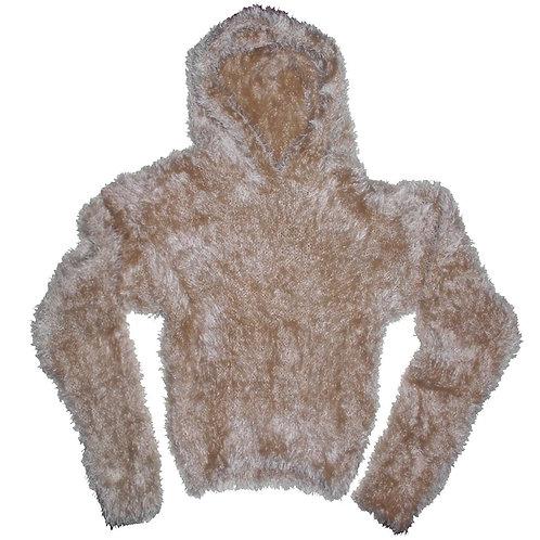 Beige Hood Sweater In Mohair