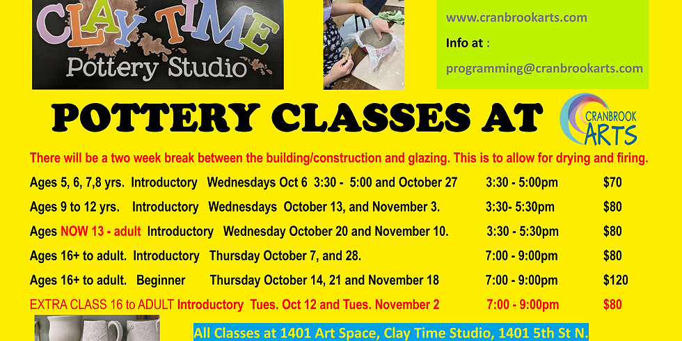 Introductory Pottery for 13yrs to adult