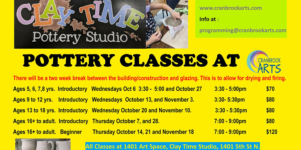 Introductory Pottery for 13 -18yrs