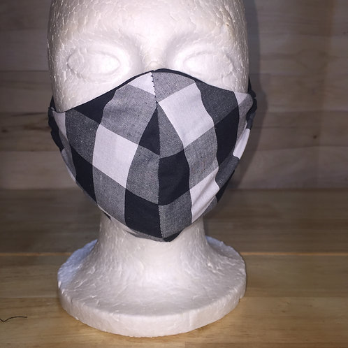 Black & White Plaid Face Mask