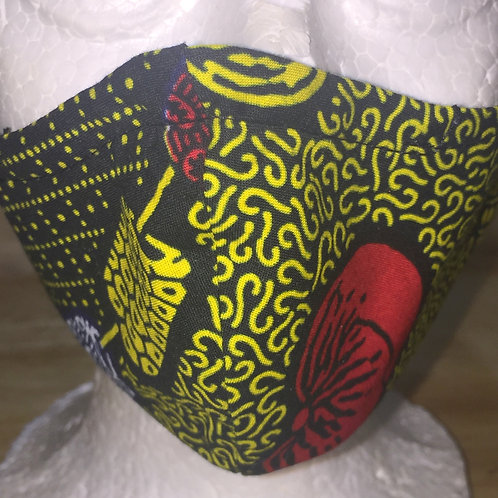 African Cotton Face Mask - Yellow & Black