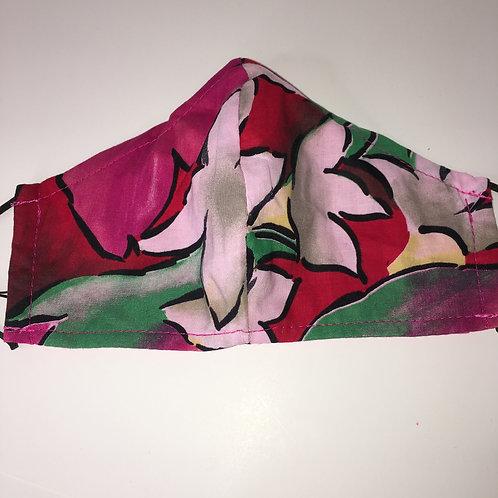 Pink Floral Print Face Mask