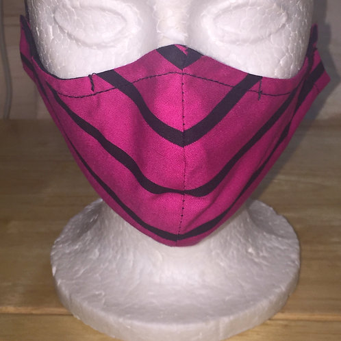 Fuchsia & Black Stripe Face Mask
