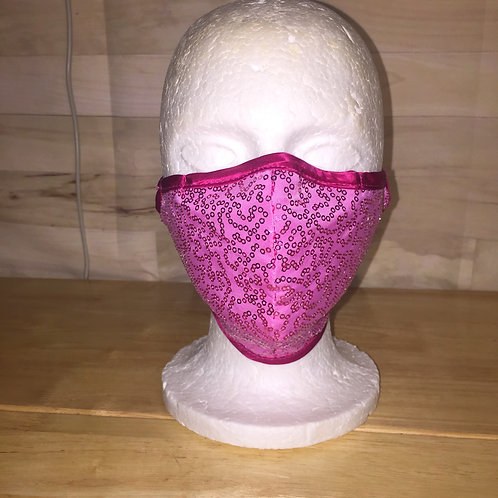 Pink Sequin Face Mask