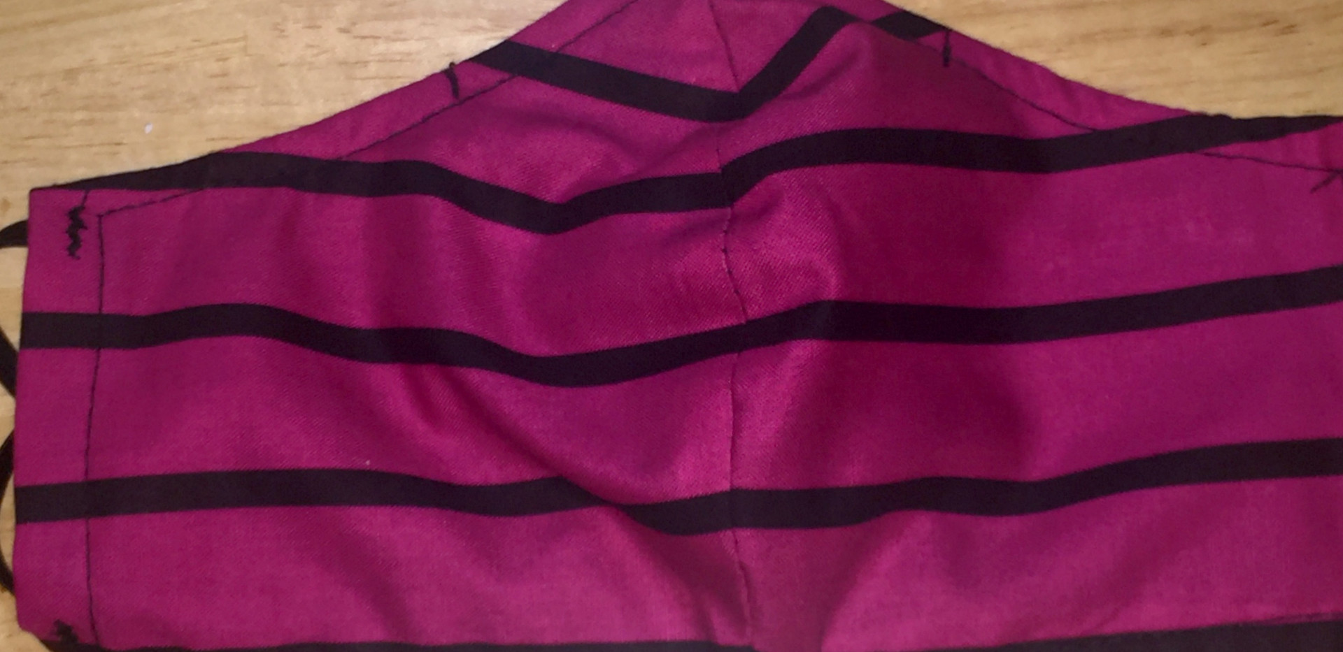 Pink & Black Striped Face Mask