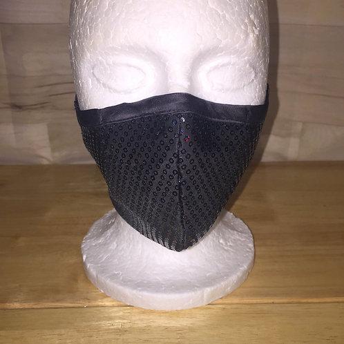Black Sequin Face Mask