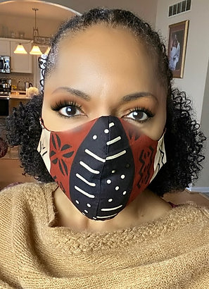 African Print Cotton Face Mask - Mudcloth