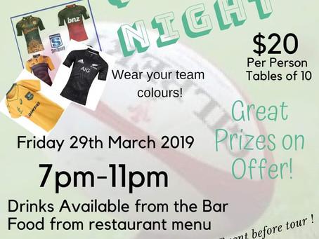 QUIZ NIGHT TO SUPPORT U15 NZ TOUR!