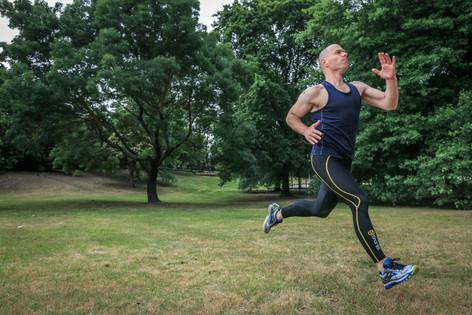 Damon Young sprinting in Canterbury, Australia.