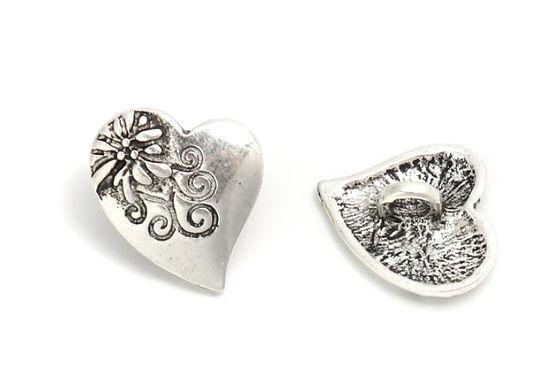 Metallknapp, hjerteformet