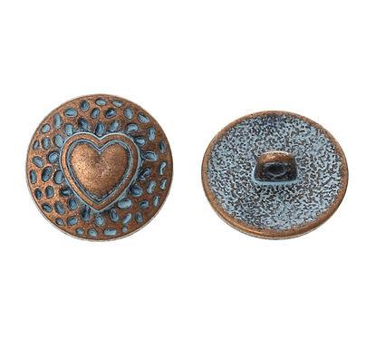 Metall knapp bronse, hjerte