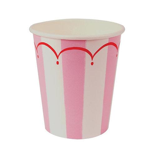 12 Copos Riscas Rosa e Branco
