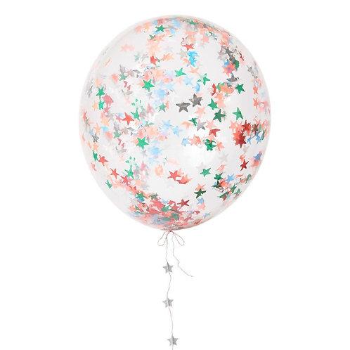 Balão de Látex com Estrelinhas Coloridas