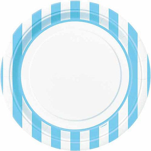 8 Pratos às Riscas Branco e Azul Claro