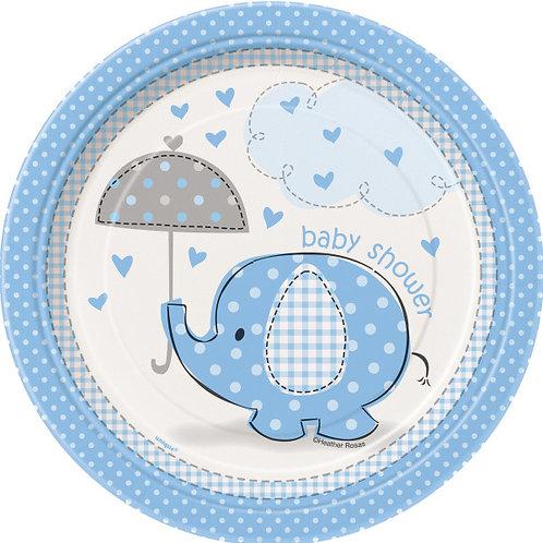 8 pratos Baby Shower Elefante Azul