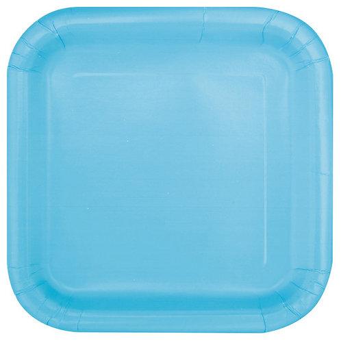 16 Pratos Quadrados Azul Claro