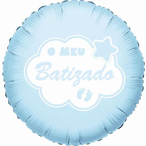 """Balão Foil Azul """"O Meu Batizado"""""""