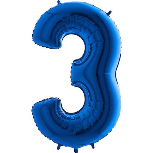 Balão Nº 3 Azul Escuro