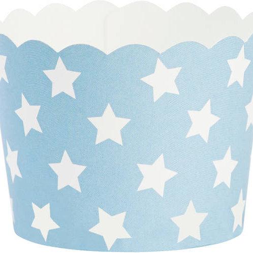 Formas de Cupcakes Azuis com Estrelas Brancas