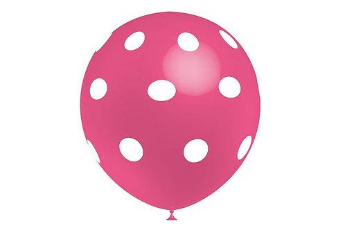 Balão Látex Bolinhas Rosa Escuro