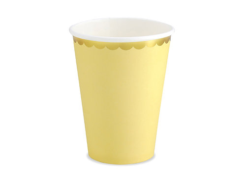 6 Copos Amarelo Claros com Borda Dourada