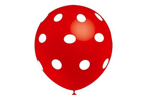 Balão Látex Bolinhas Vermelho