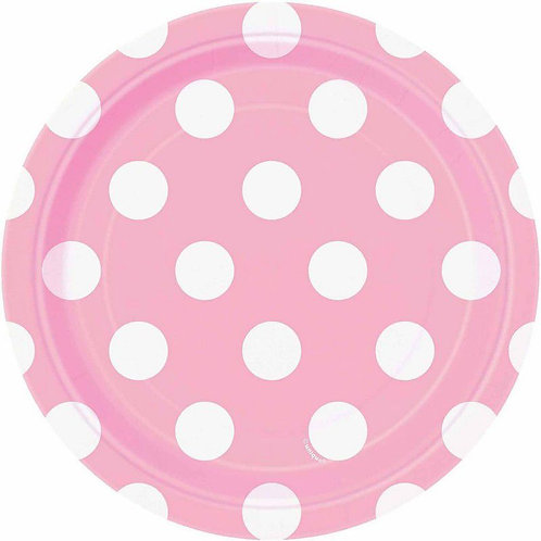 8 Pratos Rosa Claro com Bolinhas Brancas
