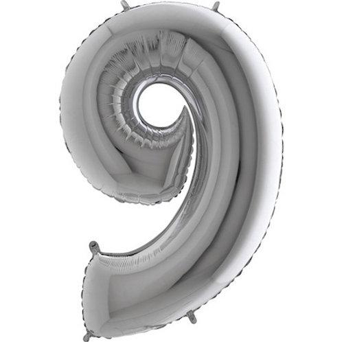 Balão Nº9 Prateado