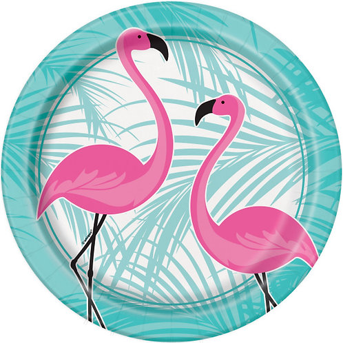 8 Pratos Flamingos